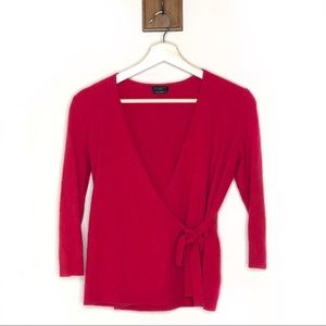 Talbots pure cashmere red wrap v neck sweater
